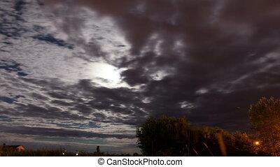 Misty sky in moonlight - Starry sky time lapse in Carpatian...