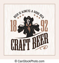 Craft beer and girl logo- vector illustration, emblem...