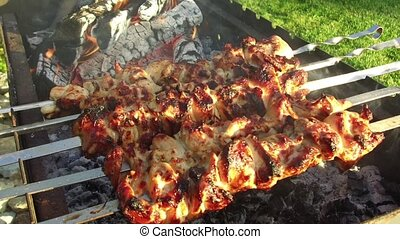 meat on skewers and firewood in brazier outdoors - cooking,...