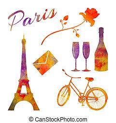 ensemble, Vélo,  rose,  paris, aquarelle, bouteille, tour, Objets,  etc