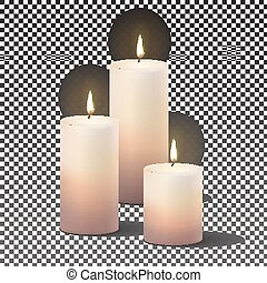 Candles burning, with fire realistic