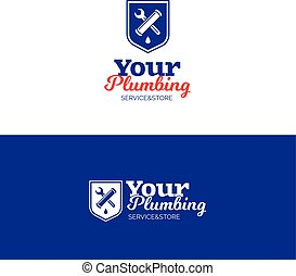 Plumbing service logo with pipe, wrench and shield. Vector...