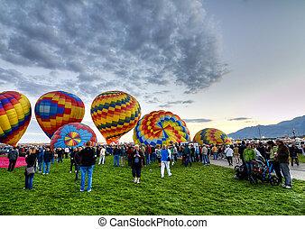 Balloon Fiesta crowd - Crowd surrounding balloons at...