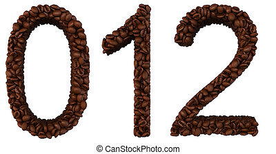 Coffee font 0 1 2 numerals isolated over white