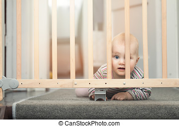 baby behind safety gates in front of stairs at home