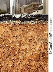 broken city road excavation earthquake cross section