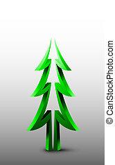 abete, logotipo,  3D, albero