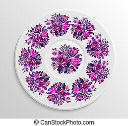 Decorative plate with round ethnic ornament. - Table...