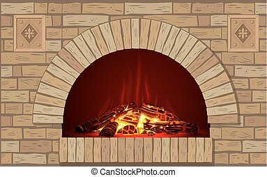 Ancient brick hearth with fire - An ancient brick hearth...