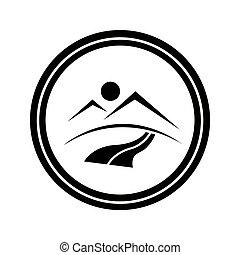 Circle logo of mountains, road and sunset. - Circle logo...