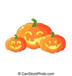 Three smiling, laughing, grinning pumpkin jack-o-lanterns,...
