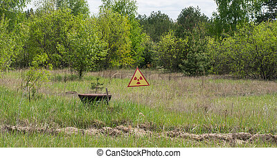 Sign warning of radiation and contamination in Chernobyl