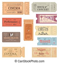Retro tickets or old paper coupons for show - Old tickets...