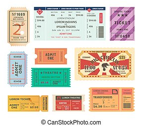 Vintage tickets, paper coupons for circus, cinema - Set of...