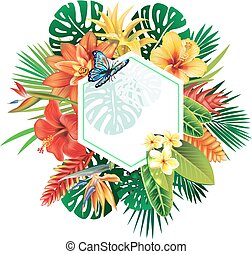 Banner from tropical plants and flowers