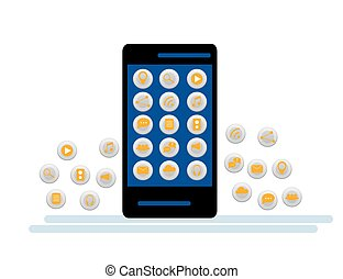 Black Smartphone with cloud of application icons and Apps icons flying around them, isolated on White background.