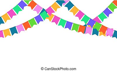 Garland of color Party flags Isolated on White background.