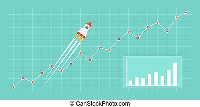 Business growth concept - Flat style illustration with...