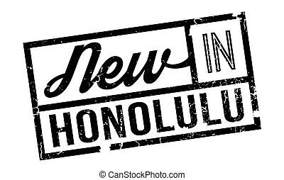 New In Honolulu rubber stamp. Grunge design with dust...