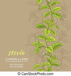 stevia vector background - stevia leaves vector pattern on...