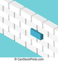 Blue block standing out - Isometric unique blue block or box...