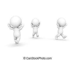 Three 3D Characters running away. Isolated on white.