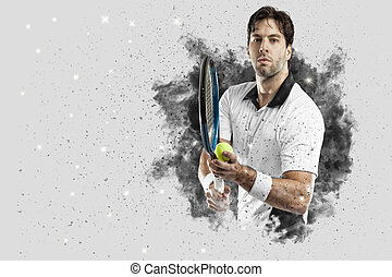Tennis Player coming out of a blast of smoke . - Tennis...