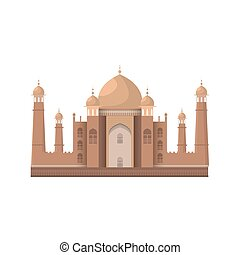 Taj Mahal mausoleum in Agra, India. Isolated on white....