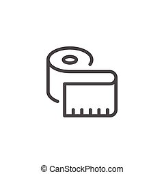 Measuring tape line icon isolated on white. Vector...