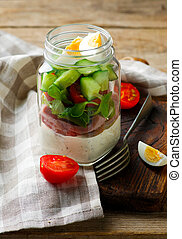 Summer maison jar salad.. style rustic.selective focus