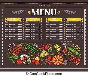 Vector illustration of a vegetarian restaurant menu design....