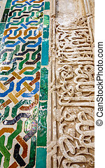 Decorated tiles with geometric shapes in colors, the...