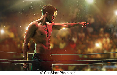 Handsome, muscular man on the fight club ring - Handsome,...