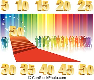 Fiftieth anniversary - Colorful crowd of businesspeople...