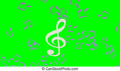 Music animation with treble clef swinging on green screen,...