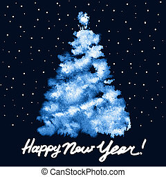 Painted blue Christmas tree - Happy New Year! - Painted blue...