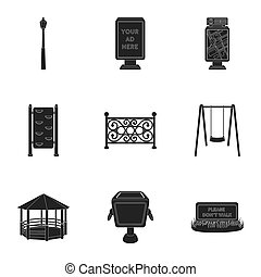 Park set icons in black style. Big collection of park...
