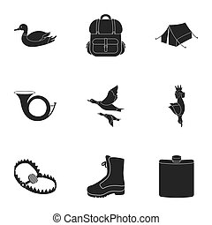 Hunting set icons in black style. Big collection of hunting...