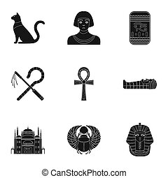Ancient Egypt set icons in black style. Big collection of ancient Egypt bitmap, raster symbol stock illustration