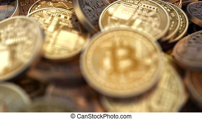 Pile of Bitcoins with changing depth of field, beautiful 3d...