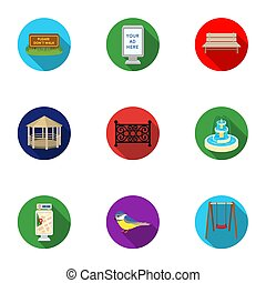 Park set icons in flat style. Big collection of park bitmap,...