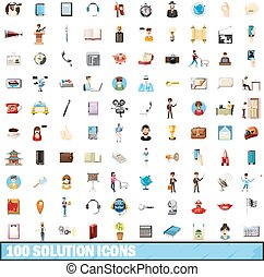100 solution icons set, cartoon style - 100 solution icons...