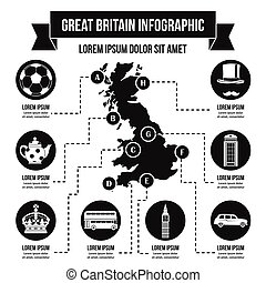 Great Britain infographic concept, simple style - Great...