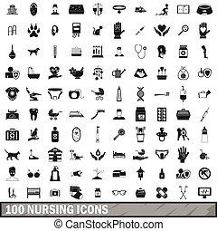 stile, allattamento, Icone,  set, semplice,  100