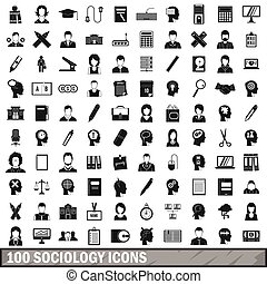 100 sociology icons set, simple style - 100 sociology icons...