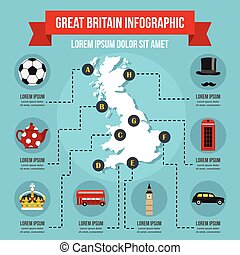 Great Britain infographic concept, flat style - Great...