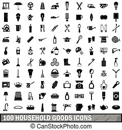 100 household goods icons set, simple style - 100 household...