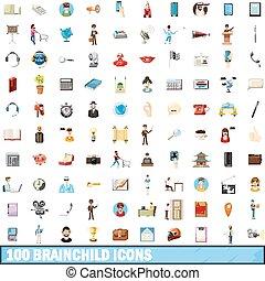 100 brainchild icons set, cartoon style - 100 brainchild...