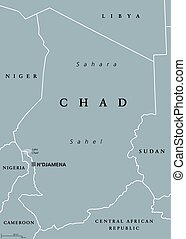 Chad political map with capital NDjamena, international...