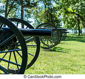 Row of antique civil war cannons at Harpers Ferry WV - Focus...